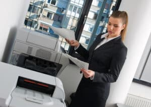 woman and office equipment