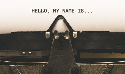 Hello, my Name is, Text on paper in Vintage type writer machine from 1920s closeup with paper
