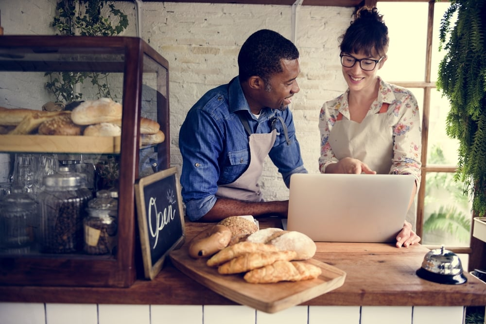 small business owners running a bakeshop
