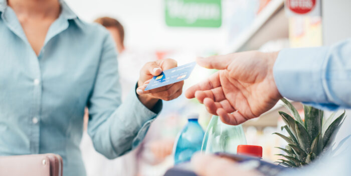 Woman using a credit card